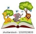 wild animals on open book... | Shutterstock .eps vector #1310523833