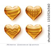 set of 3d hearts with golden... | Shutterstock .eps vector #1310526560