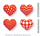 set of 3d hearts with red and... | Shutterstock .eps vector #1310526563