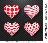 set of 3d hearts with red and... | Shutterstock .eps vector #1310526566