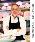 Senior butcher portrait - stock photo