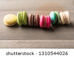 colorful home macaron on wood... | Shutterstock . vector #1310544026