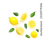lemon and slices with leaf... | Shutterstock . vector #1310579336