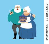 grandmother and grandfather.... | Shutterstock . vector #1310585219