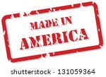 Red rubber stamp of Made In America - stock photo