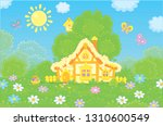 easter basket near a small... | Shutterstock .eps vector #1310600549