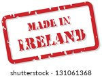 Red rubber stamp vector of Made In Ireland - stock vector