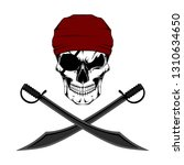 vector image of a pirate skull... | Shutterstock .eps vector #1310634650
