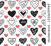 seamless pattern with hearts.... | Shutterstock .eps vector #1310639969