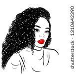 curly beauty girl illustration... | Shutterstock .eps vector #1310642390