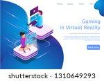 isometric banner gaming in... | Shutterstock .eps vector #1310649293