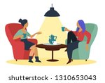 friends girls talking at cafe... | Shutterstock .eps vector #1310653043