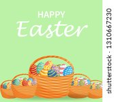 easter eggs in a wicker nest... | Shutterstock .eps vector #1310667230
