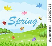 spring cartoon landscape with... | Shutterstock .eps vector #1310667236