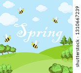 spring cartoon landscape with... | Shutterstock .eps vector #1310667239