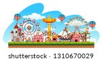 fun fair amusement scene... | Shutterstock .eps vector #1310670029