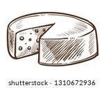 swiss cheese head sketch food... | Shutterstock .eps vector #1310672936