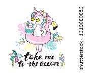 a beautiful unicorn with a...   Shutterstock .eps vector #1310680853
