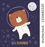 cute bear in astronaut suit on... | Shutterstock .eps vector #1310682320