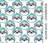 cute sloth head seamless... | Shutterstock .eps vector #1310684426