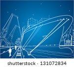 Neon Ship  Vector Lines Ship O...