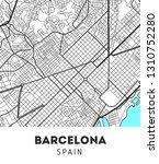 vector city map of barcelona... | Shutterstock .eps vector #1310752280