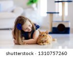 Stock photo child playing with cat at home kids and pets little girl feeding and petting cute ginger color 1310757260