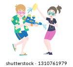 flat style foreigners splashing ... | Shutterstock .eps vector #1310761979