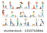 Stock photo people with dogs set happy and smiling people 1310763866