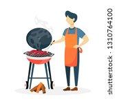 man preparing sausages bbq on...   Shutterstock . vector #1310764100