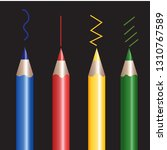 colorful pencils on a black... | Shutterstock .eps vector #1310767589