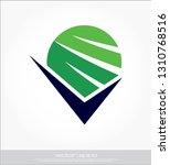 check mark and globe logo   Shutterstock .eps vector #1310768516