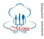 chef's hat with cutlery and... | Shutterstock .eps vector #1310790530
