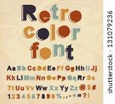retro color font. vector... | Shutterstock .eps vector #131079236