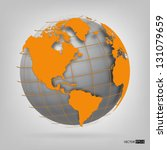 3d Globe Of The World. Eps10...