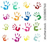 many colorful hand imprints as... | Shutterstock . vector #1310800763