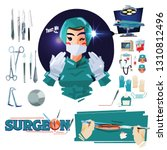surgeon with medical icon set... | Shutterstock .eps vector #1310812496