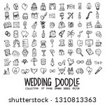 set of wedding icons drawing... | Shutterstock .eps vector #1310813363