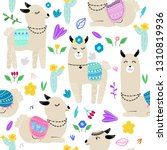 seamless pattern with lamas... | Shutterstock .eps vector #1310819936