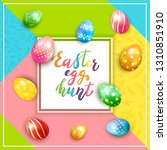 card with painted easter eggs... | Shutterstock .eps vector #1310851910