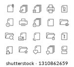 Stock vector set of document icons such as files checkmark find search paper 1310862659