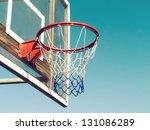 Closeup Of Basketball Hoop Wit...