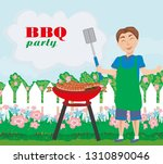 man cooking meat on grill  ... | Shutterstock . vector #1310890046