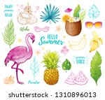 summer tropic sticker set  for... | Shutterstock .eps vector #1310896013