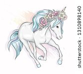 beautiful unicorn with flowers... | Shutterstock .eps vector #1310898140