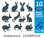 Stock vector bunny rabbit flat icon set 1310899310