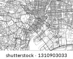 black and white vector city map ... | Shutterstock .eps vector #1310903033