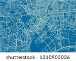 blue and white vector city map... | Shutterstock .eps vector #1310903036