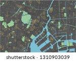 tokyo vector map with dark... | Shutterstock .eps vector #1310903039