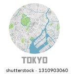 minimalistic tokyo city map... | Shutterstock .eps vector #1310903060